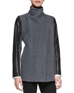 Theory Naomo Leather-Sleeve Felt Coat