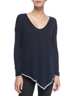 Joie Niami Contrast-Tipping V-Neck Sweater
