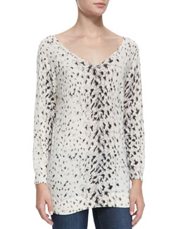 Joie Brooklyn V-Neck Leopard-Print Sweater