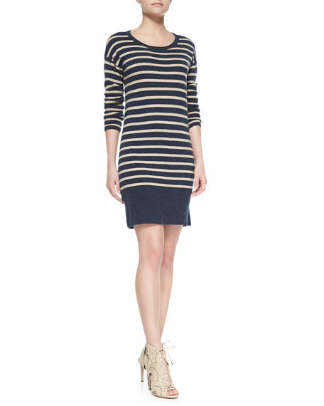 Cashel Striped & Solid-Knit Dress