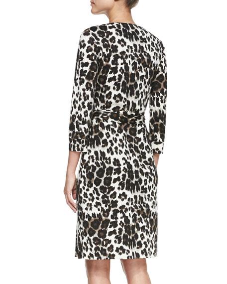 New Julian Two Snow Leopard-Print Wrap Dress