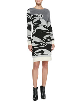 Diane von Furstenberg Cloud Wave-Print Sweater Dress