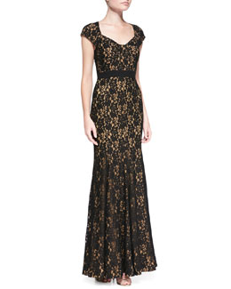 Diane von Furstenberg Cap-Sleeve Lace Mermaid Gown