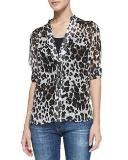 Diane von Furstenberg Harlow Tab-Sleeve Snow Leopard-Print Blouse