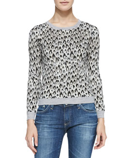 Diane von Furstenberg Leopard-Dance Long-Sleeve Sweater