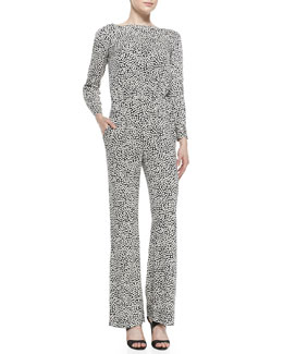 Diane von Furstenberg 601 Long-Sleeve Printed Jumpsuit