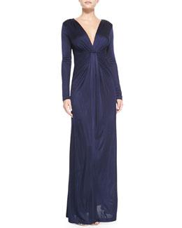 Diane von Furstenberg Long-Sleeve Drape-Front Gown