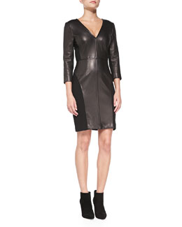 Diane von Furstenberg 3/4-Sleeve Leather-Front Sheath Dress