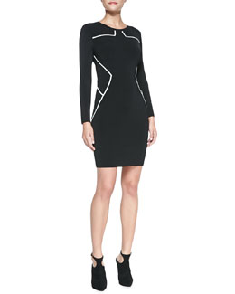 Diane von Furstenberg Josephine Long-Sleeve Contrast-Trim Sheath Dress