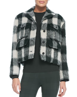 Rag & Bone Louisiana Cropped Fuzzy Plaid Jacket