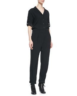 Rag & Bone Rose Tab-Sleeve Jersey Jumpsuit
