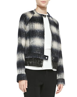 A.L.C. Mohair Plaid Bomber Jacket