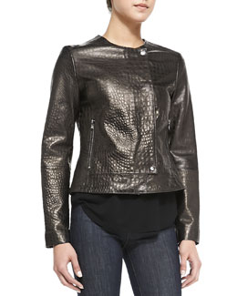 J Brand Ready to Wear Crocodile-Embossed Metallic Leather Jacket
