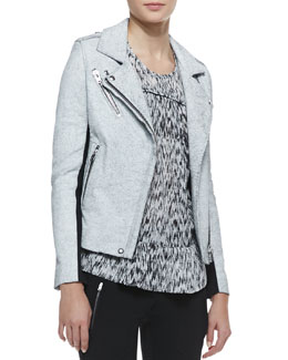IRO Ilaria Crackled Leather/Wool Jacket
