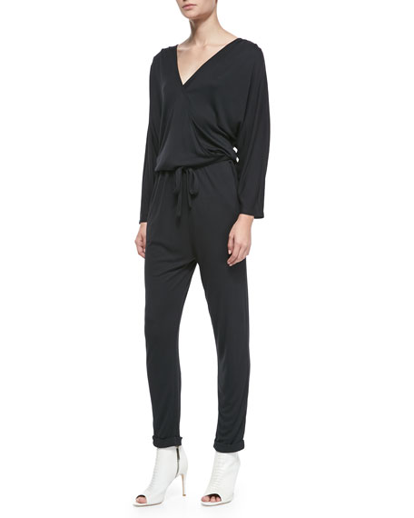 Drape-Top Jersey Jumpsuit
