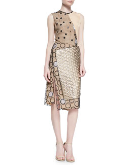 Reed Krakoff Leather-Trim Multi-Dot Dress, Gold