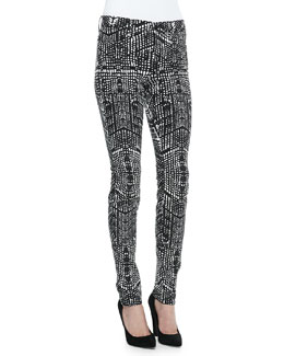 J Brand Jeans 620 Mid-Rise Kaleidoscope-Print Skinny Jeans