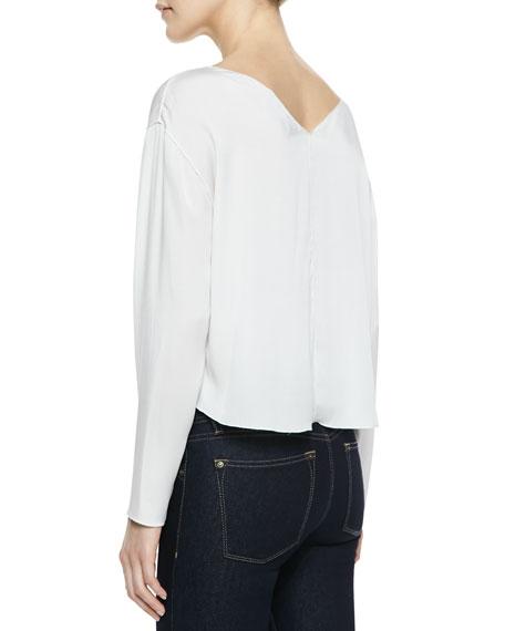 Drop-Shoulder Silk Crop Top