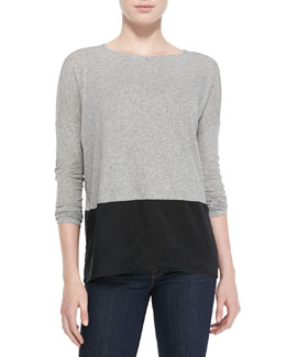 Alice + Olivia Mix-Fabric Long-Sleeve Top