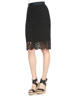 Scarlett Swirly-Lace Pencil Skirt