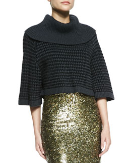Alice + Olivia Basket-Weave Raglan Turtleneck