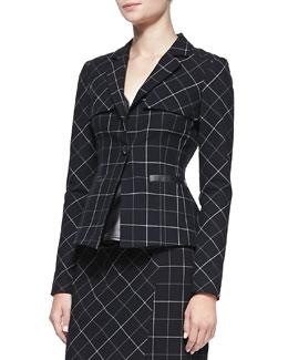 Nanette Lepore Collegiate Printed Leather-Trim Jacket