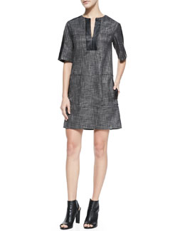 Nanette Lepore Short-Sleeve Leather-Bound Shift Dress