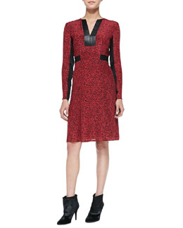 Nanette Lepore Dewey Decimal Leather-Trim Dress