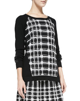 Nanette Lepore First Edition Plaid-Front Sweater