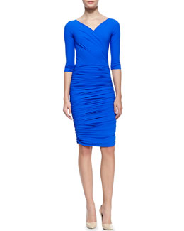 La Petite Robe di Chiara Boni 3/4-Sleeve Ruched V-Neck Cocktail Dress, 938