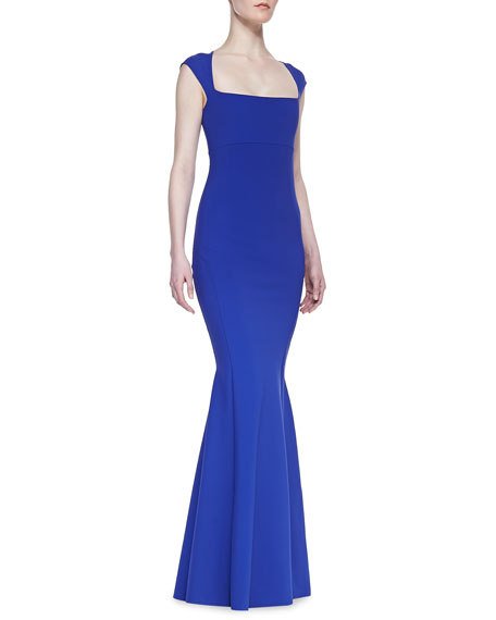 Cap Sleeve Mermaid Gown, Zaffiro Blue