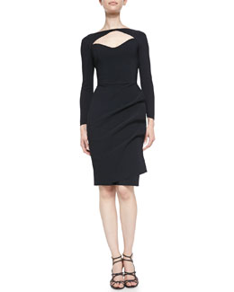 La Petite Robe di Chiara Boni 3/4-Sleeve Open-Neck Cocktail Dress