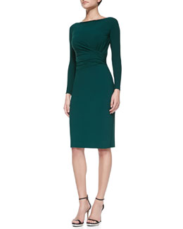 La Petite Robe di Chiara Boni Camelia Long-Sleeve Draped-Waist Cocktail Dress