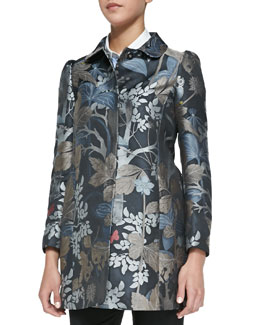 RED Valentino Wooded Forest Jacquard Topper Coat, Slate