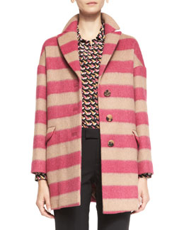 RED Valentino Button-Front Striped Wool Blanket Coat