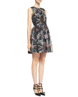 RED Valentino Wooded Forest Sleeveless Organza Dress