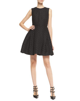 RED Valentino Heart-Jacquard Pouf Dress