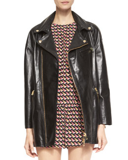 RED Valentino Long Leather Motorcycle Jacket