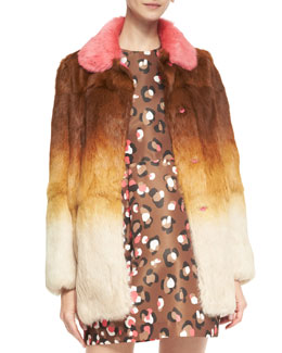 RED Valentino Ombre Fur Coat with Colorblock Collar