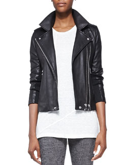 IRO Vika Leather/Knit Moto Jacket