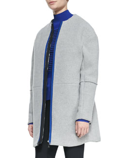 Opening Ceremony Front-Zip Collarless Scuba Coat
