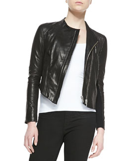 Helmut Lang Blistered Cropped Leather Jacket