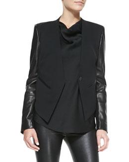 Helmut Lang Leather-Sleeve Wool Tuxedo Jacket