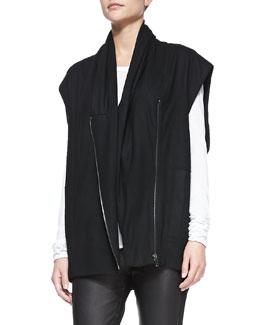 Helmut Lang Sonar Wool Front-Zip Vest