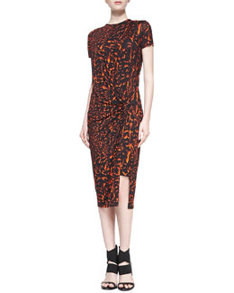 Helmut Lang Strata Printed Draped Jersey Dress