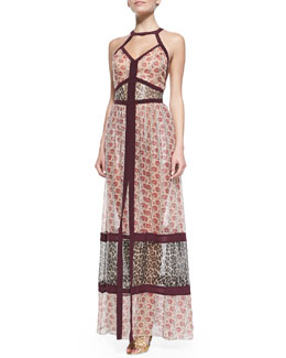 Tamara Mellon Banded Halter Maxi Dress, Raspberry/Multi