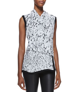 Helmut Lang Annex Printed Draped Silk Blouse