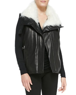 Helmut Lang Fur-Trim Leather Vest