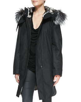 Helmut Lang Ultimate Fur-Trim Zip Coat