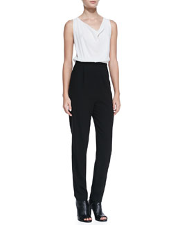 Alice + Olivia Sleeveless Cowl-Neck Two-Tone Jumpsuit